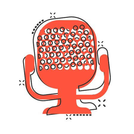 Microphone icon in comic style. Mic broadcast vector cartoon illustration pictogram. Microphone mike speech business concept splash effect.