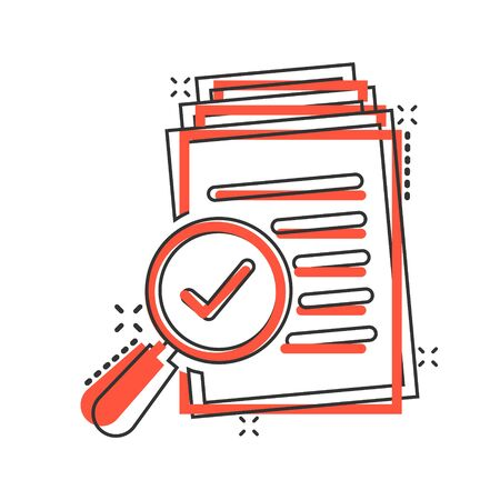 Scrutiny document plan icon in comic style. Review statement vector cartoon illustration pictogram. Document with magnifier loupe business concept splash effect. Çizim