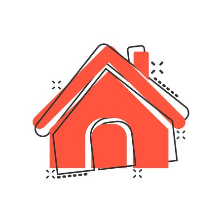 House building icon in comic style. Home apartment vector cartoon illustration pictogram. House dwelling business concept splash effect. Vectores