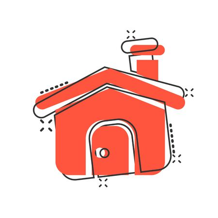 House building icon in comic style. Home apartment vector cartoon illustration pictogram. House dwelling business concept splash effect. Иллюстрация