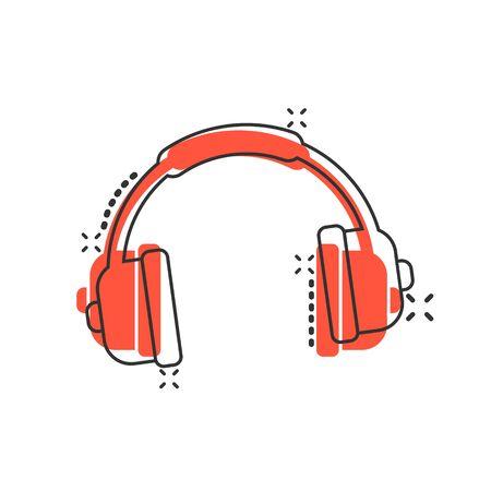 Headphone headset icon in comic style. Headphones vector cartoon illustration pictogram. Audio gadget business concept splash effect. Иллюстрация