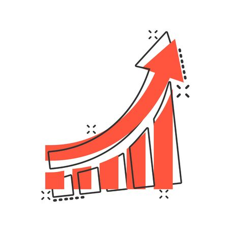 Growing bar graph icon in comic style. Increase arrow vector cartoon illustration pictogram. Infographic progress business concept splash effect. Çizim