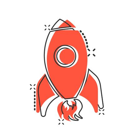 Rocket space ship icon in comic style. Spaceship vector cartoon illustration pictogram. Rocket start business concept splash effect.