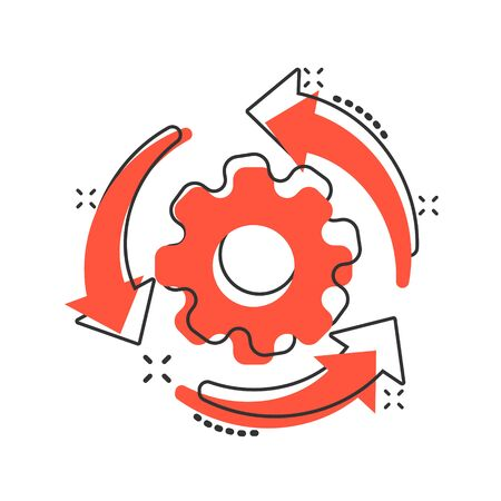Workflow process icon in comic style. Gear cog wheel with arrows vector cartoon illustration pictogram. Workflow business concept splash effect. Çizim