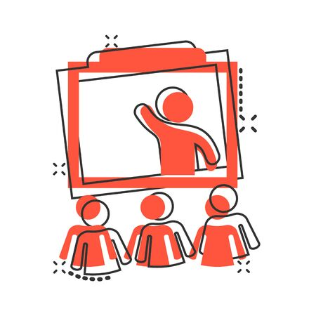 Training education icon in comic style. People seminar vector cartoon illustration pictogram. School classroom lesson business concept splash effect. Иллюстрация