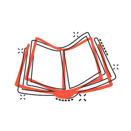 Book education icon in comic style. Literature magazine vector cartoon illustration pictogram. Book paper business concept splash effect.
