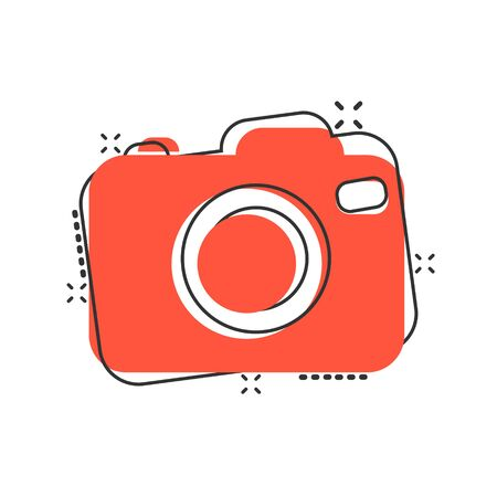 Photo camera icon in comic style. Photographer cam equipment vector cartoon illustration pictogram. Camera business concept splash effect.