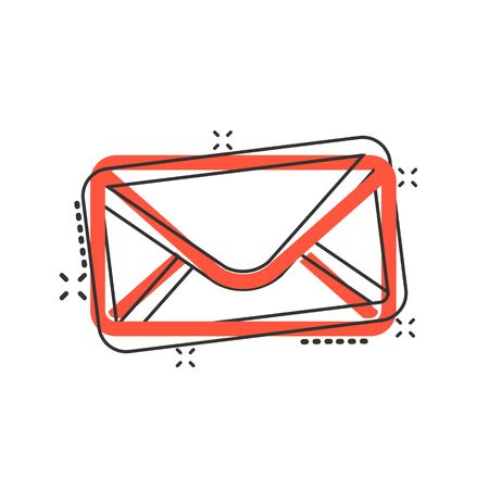 Mail envelope icon in comic style. Receive email letter spam vector cartoon illustration pictogram. Mail communication business concept splash effect. Stock Illustratie