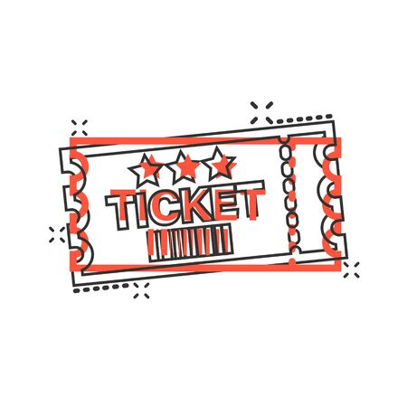 Cinema ticket icon in comic style. Admit one coupon entrance vector cartoon illustration pictogram splash effect. Ilustração