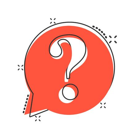 Question mark icon in comic style. Discussion speech bubble vector cartoon illustration pictogram.