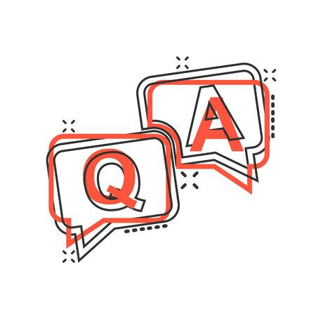 Question and answer icon in comic style. Discussion speech bubble vector cartoon illustration pictogram splash effect.