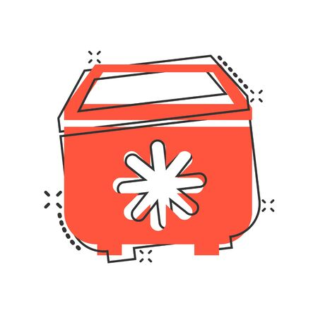 Fridge refrigerator icon in comic style. Freezer container vector cartoon illustration pictogram splash effect.