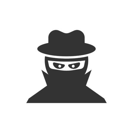 Fraud hacker icon in flat style. Spy vector illustration on isolated background. Cyber defend business concept. Ilustração
