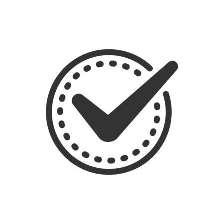 Check mark sign icon in flat style. Confirm button vector illustration on white isolated background. Accepted business concept. Archivio Fotografico - 132617304