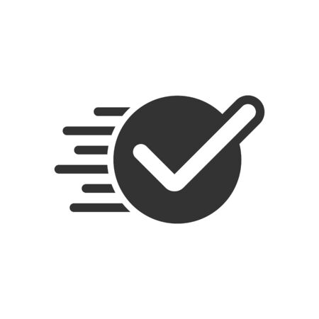 Check mark sign icon in flat style. Confirm button vector illustration on white isolated background. Accepted business concept. Archivio Fotografico - 133227806