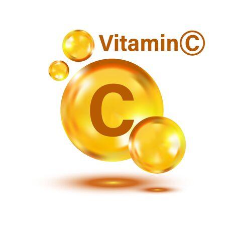 Icône de vitamine C dans un style plat. Illustration vectorielle de pilule capcule sur fond isolé blanc. Concept d'entreprise de drogue.