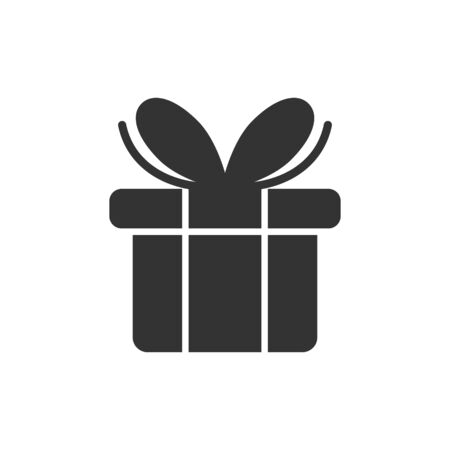 Gift box icon in flat style. Present package vector illustration on white isolated background. Surprise business concept. Ilustração