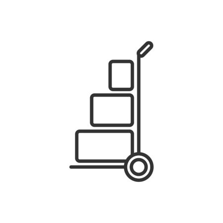 Cargo trolley icon in flat style. Delivery box vector illustration on white isolated background. Box shipping business concept.