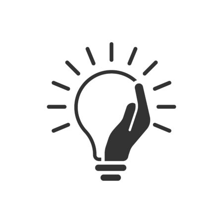 Lightbulb in hand icon in flat style. Bulb vector illustration on white isolated background. Lamp business concept.