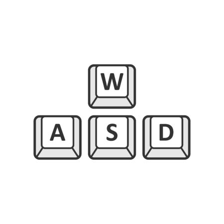 Wasd button icon in flat style. Keyboard vector illustration on white isolated background. Cybersport business concept. Ilustração