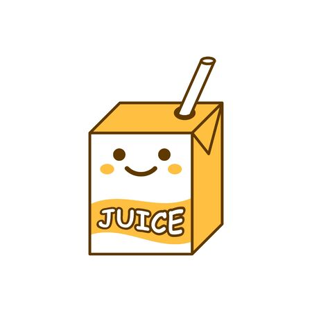 Cute juice icon in flat style. Kawaii drink vector illustration on white isolated background. Cartoon funny container business concept.