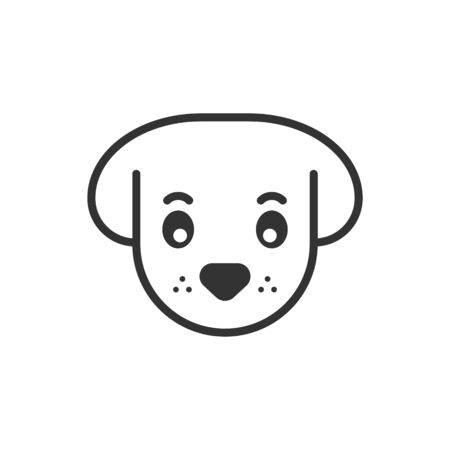 Dog head icon in flat style. Cute pet vector illustration on white isolated background. Animal business concept. Ilustração
