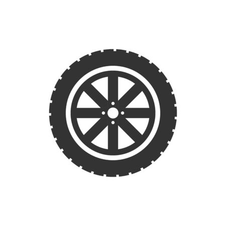 Car wheel icon in flat style. Vehicle part vector illustration on white isolated background. Tyre business concept. Ilustração