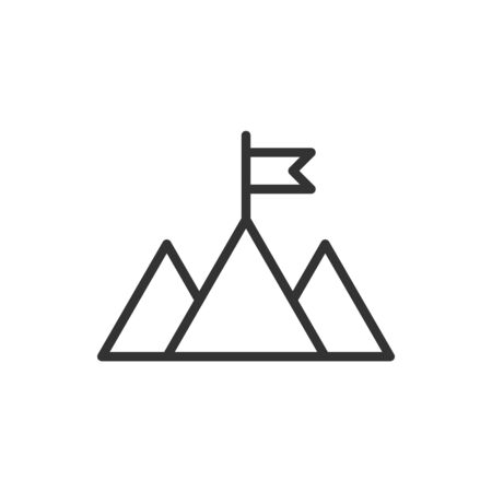 Mission champion icon in flat style. Mountain vector illustration on white isolated background. Leadership business concept. Illustration