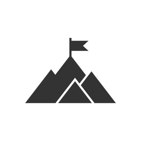 Mission champion icon in flat style. Mountain vector illustration on white isolated background. Leadership business concept. Ilustração