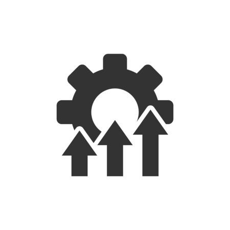 Improvement icon in flat style. Gear project vector illustration on white isolated background. Productivity business concept.