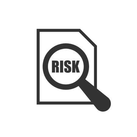 Risk level icon in flat style. Result vector illustration on white isolated background. Assessment business concept.