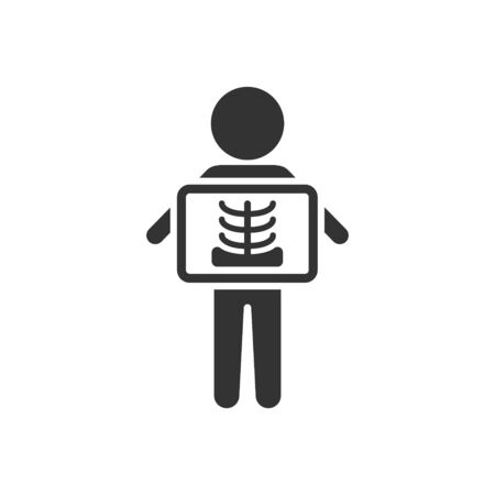 X-ray icon in flat style. Radiology vector illustration on white isolated background. Medical scan business concept.