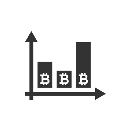 Bitcoin growth icon in flat style. Blockchain vector illustration on white isolated background. Cryptocurrency business concept.