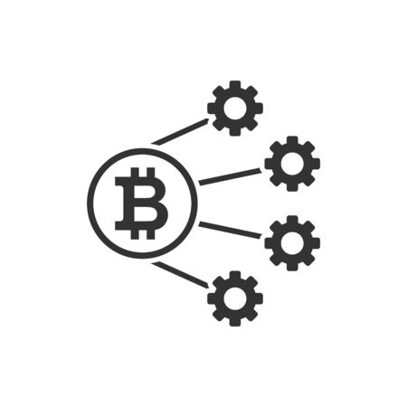 Bitcoin icon in flat style. Blockchain vector illustration on white isolated background. Cryptocurrency business concept.