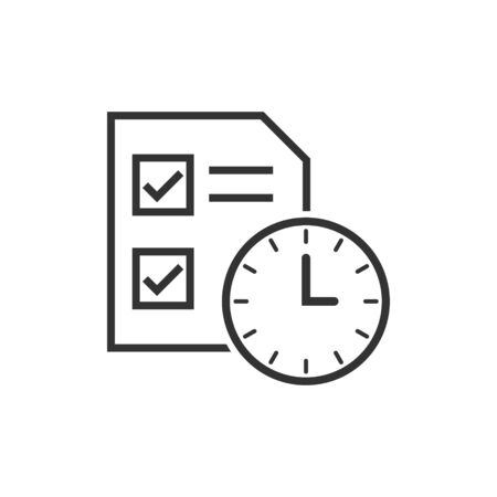 Contract time icon in flat style. Document with clock vector illustration on white isolated background. Deadline business concept. Ilustração