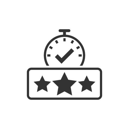 Rating result icon in flat style. Clock with stars vector illustration on white isolated background. Satisfaction business concept.