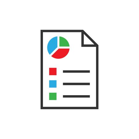 Document icon in flat style. Report vector illustration on white isolated background. Paper sheet business concept.