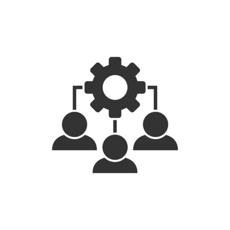 Business training icon in flat style. Gear with people vector illustration on white isolated background. Employee management concept. Ilustração