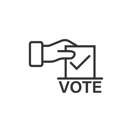 Vote icon in flat style. Ballot box vector illustration on white isolated background. Election business concept. Иллюстрация