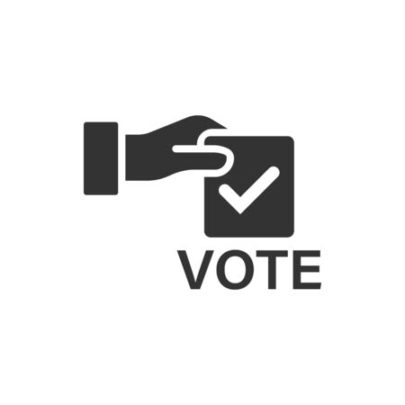 Vote icon in flat style. Ballot box vector illustration on white isolated background. Election business concept. Ilustração