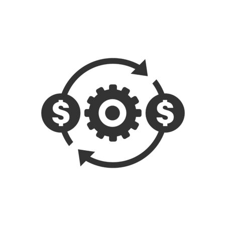 Money optimization icon in flat style. Gear effective vector illustration on white isolated background. Finance process business concept. Çizim