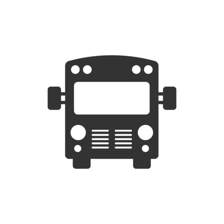 Bus icon in flat style. Coach car vector illustration on white isolated background. Autobus business concept.