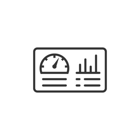 Dashboard icon in flat style. Finance analyzer vector illustration on white isolated background. Performance algorithm business concept.