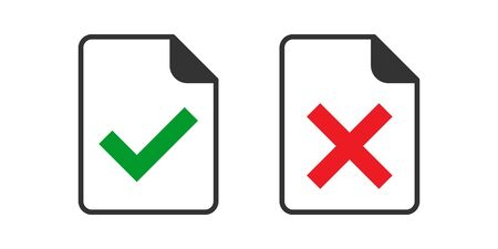 Accept document icon in flat style. Reject vector illustration on white isolated background. Check mark message business concept.