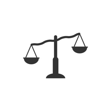 Scale balance icon in flat style. Justice vector illustration on white isolated background. Judgment business concept.