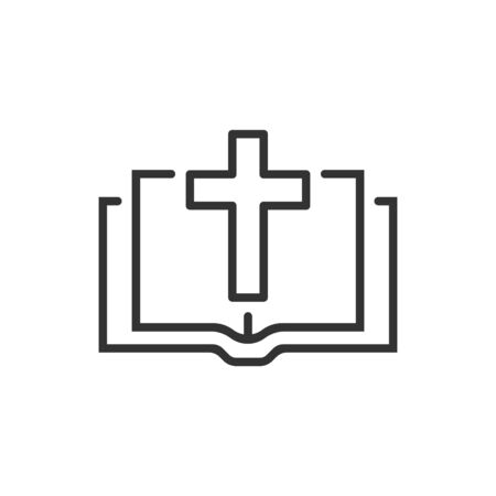 Bible book icon in flat style. Church faith vector illustration on white isolated background. Spirituality business concept.