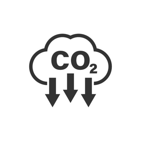 Co2 icon in flat style. Emission vector illustration on white isolated background. Gas reduction business concept. Vektorové ilustrace