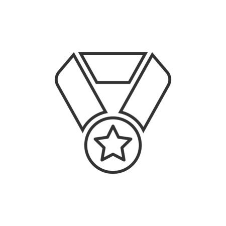 Medal icon in flat style. Prize sign vector illustration on white isolated background. Trophy award business concept.