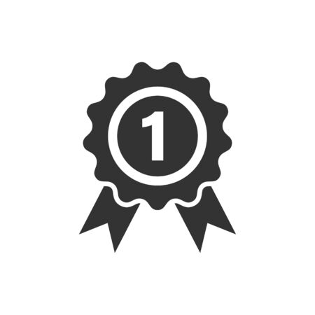 Winner icon in flat style. Rosette award vector illustration on white isolated background. Medal business concept.
