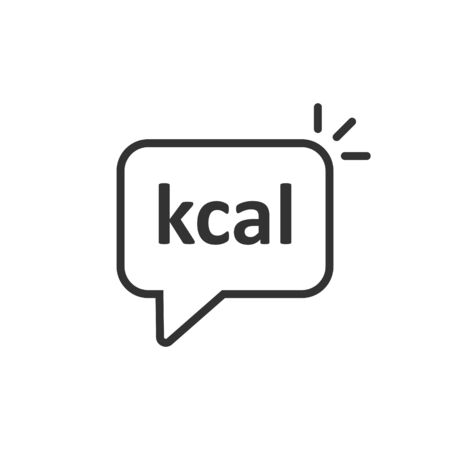 Kcal icon in flat style. Diet vector illustration on white isolated background. Calories business concept.